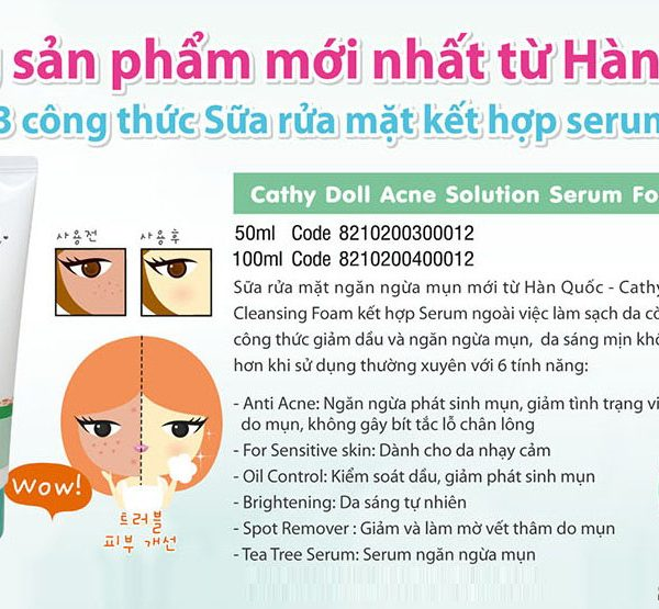 Sữa rửa mặt Cathy Doll Acne Solution Serum Foam Cleanser