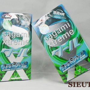 Bao cao su Sagami Xtreme Spearmint, hương bạc hà mát lạnh, kích thích cuộc yêu khi quan hệ