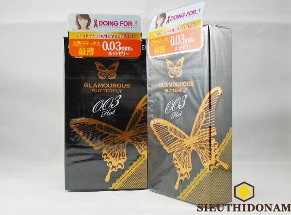 Bao cao su Jex Glamourous Butterfly Hot 0.03, loại cao cấp hãng Jex hàng đầu Nhật Bản, giá rẻ nhất